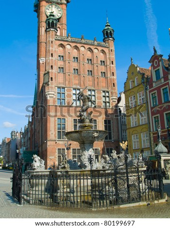 Town Hall and  Neptune fountain Gdansk, Poland.