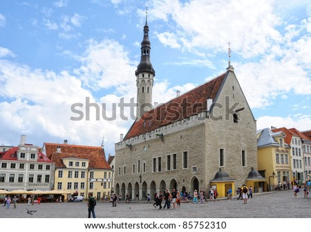Town Hall and Town Hall Square of Tallinn, capital of Estonia