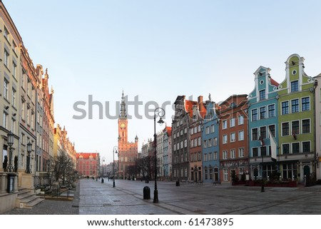 Town hall in the old town in Gdansk, Poland.