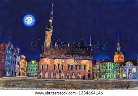 Town Hall Square in Tallinn Old Town at night. Historical architecture, St. Nicholas or Niguliste church, city lights, full moon. Baltic states landmark. Hand drawn sketchy style markers illustration.