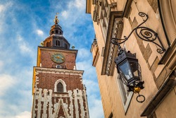 Town Hall Tower on the main market square in Krakow town, Poland, Europe.