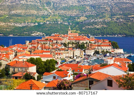 Town Korcula in Croatia - travel background
