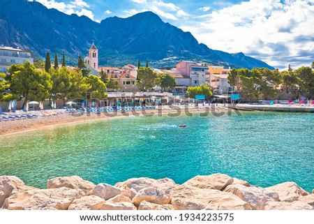 Town of Baska Voda beach and waterfront view, Biokovo mountain, Makarska riviera in Dalmatia, Croatia Stock fotó ©