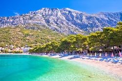 Town of Baska Voda beach and waterfront view, Makarska riviera in Dalmatia, Croatia