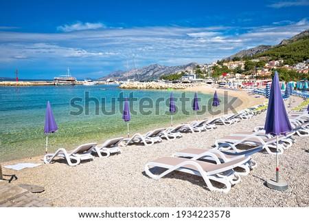 Town of Baska Voda beach and waterfront view, Makarska riviera in Dalmatia, Croatia Stock fotó ©