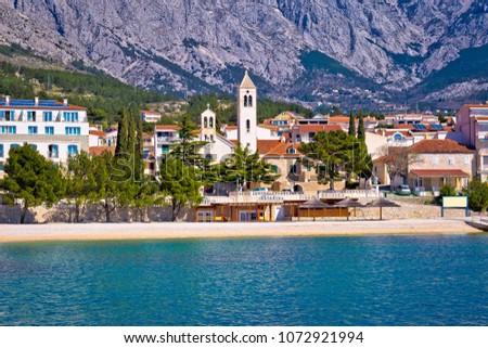 Town of Baska Voda waterfront view, Makarska riviera in Dalmatia, Croatia Stock fotó ©