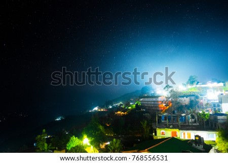 Town of Haputale situated in mountains of Sri Lanka during starry night #768556531
