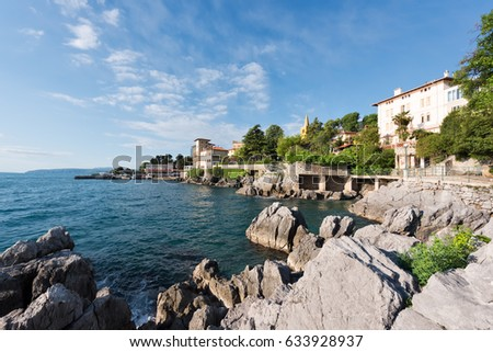 Town of Lovran coast and Lungomare walkway early morning view, Kvarner bay of Croatia