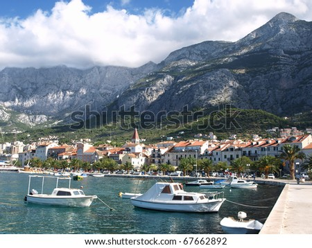 Town of Makarska - the most important tourist resort in Dalmatia, Croatia.