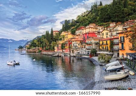 Town of Menaggio on lake Como, Milan, Italy Foto stock ©