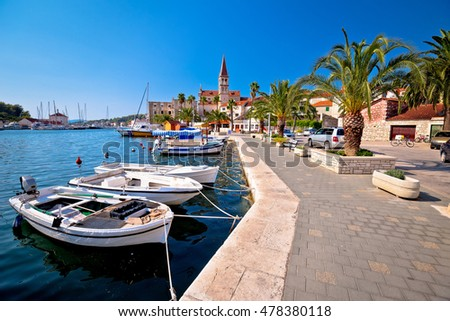 Town of Milna on Brac island waterfront view, Dalmatia, Croatia #478380118