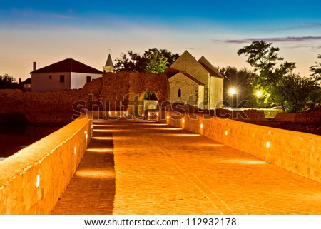 Town of Nin walkway night scene, Dalmatia, Croatia