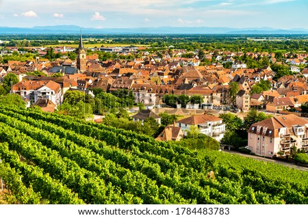 Town of Obernai with vineyards in Bas-Rhin, France Stockfoto ©