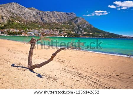 Town of Omis sand beach and Biokovo mountain coastline view, Dalmatia region of Croatia Сток-фото ©