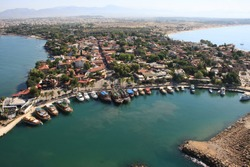 Town of Side, Turkey. Aerial photography. Photo from the trike