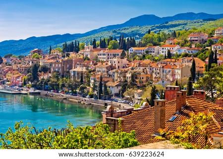 Town of Volosko seafront view, Opatija riviera of Croatia