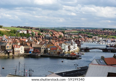 Town on the water in Whitby, England.