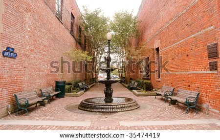 town park in a brick alley, New Bern, North Carolina