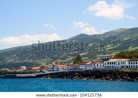 Town San Rock on the shore of Atlantic ocean, island Pico, the Azores