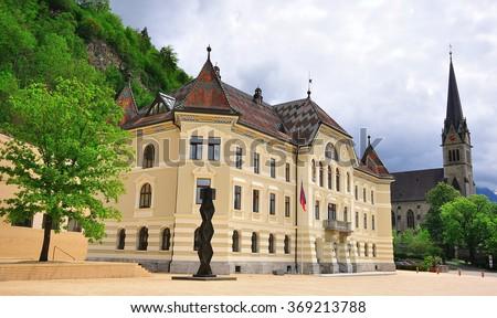 Town square in the centre of Vaduz, Liechtenstein