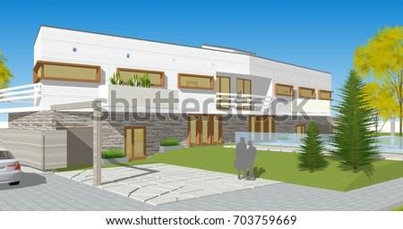 Townhouse, 3d illustration #703759669