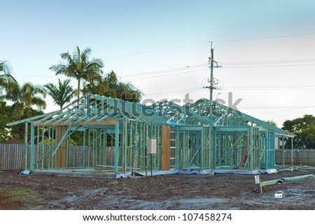 Townhouse frame and construction site