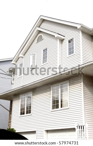 townhouse frontal view modern outdoors exterior nobody