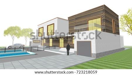 Townhouse, terrace, architectural sketch, 3d illustration #723218059