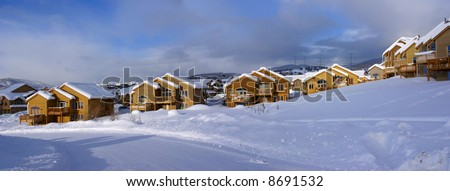 Townhouses after heavy snowstorm,		Steamboat Springs,	Colorado, Rocky Mountains