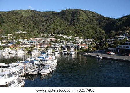 Townscape of Picton, New Zealand. Famous harbor town. Yacht marina.