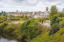 Townscape view of the historic quaint village  of Coldstream along the River Tweed in the Scottish Borders, Berwickshire, Scotland, UK.