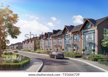 Township townhouses in the English style,3D render, 3D illustration; 300 dpi