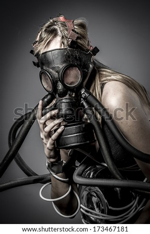 Stock Photo Toxic, gas mask, Female model, evil, blind, fallen angel of death