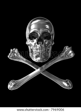 toxic symbol skull with chrome metallic texture vertical format