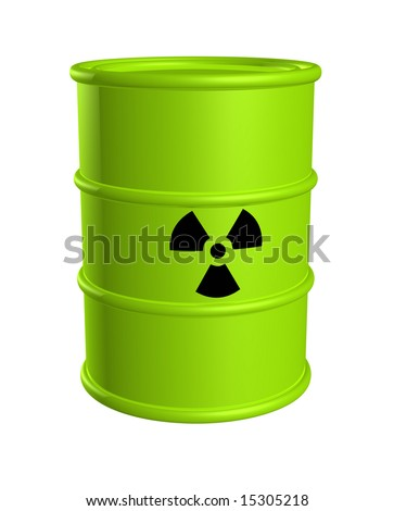 Toxic waste barrel bright green with radiation hazard symbol isolated on white.