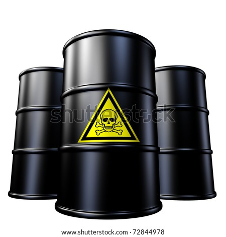 Toxic waste barrels symbol represented by  black metal oil and chemical  drums.
