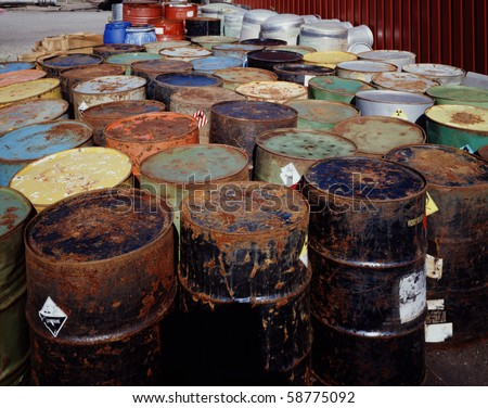 Toxic Waste Drums - stock photo