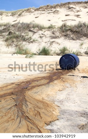 Toxic waste spilled on a beach