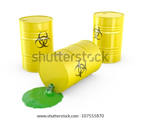 Toxic waste spilling from barrel isolated on white background