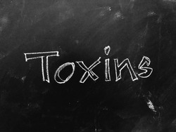 Toxins handwritten on Blackboard