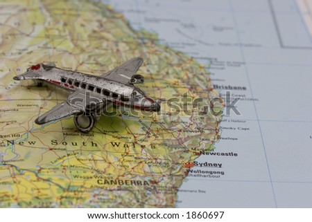 Toy Airplane on Map of Eastern Australia. Shallow depth of field from use of macro lens.