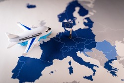 Toy airplane over a map of the on top of a map of the 26 countries that compose the Schengen Zone. Concept of ETIAS or European Travel Information and Authorisation System. Expected to enter into