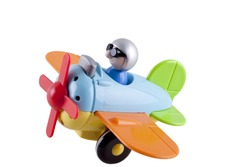toy airplane with a pilot on a white background
