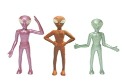 Toy Alien Figures on Isolated White Background