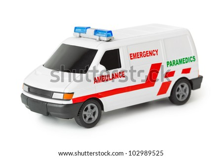 Toy ambulance car isolated on white background