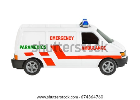 Toy ambulance car isolated on white background