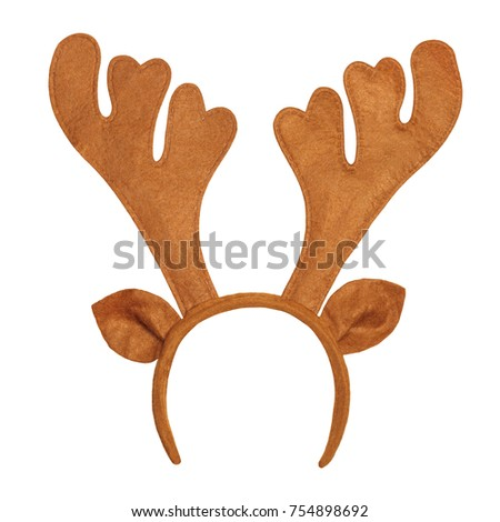 Toy antlers of a deer isolated on white background. Reindeer horns with ears
