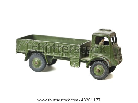 Toy army truck isolated on a white background