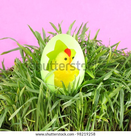 Toy baby chicken with eggshell in grass