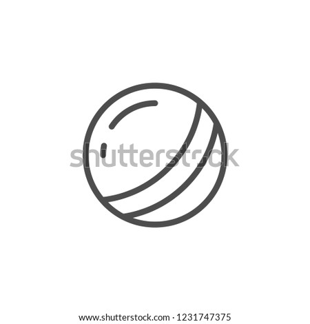 Toy ball line icon isolated on white